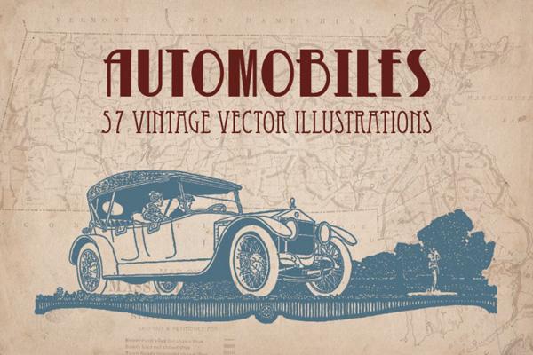57 Vintage/retro automobiles illustration