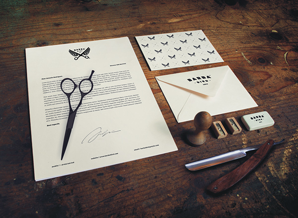 Barba Bird Identity Stationery Items