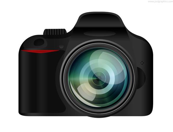 Black SLR Digital Camera Icons PSD