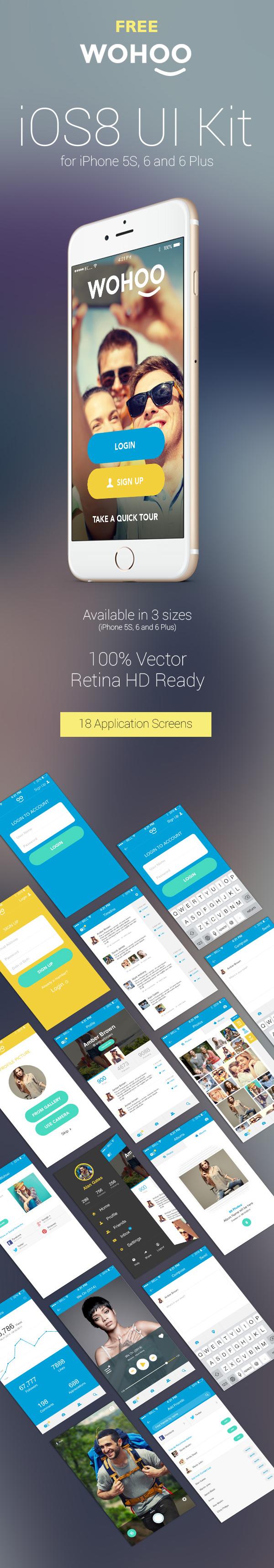 iOS8 UI Kit with 18 UI PSD Templates
