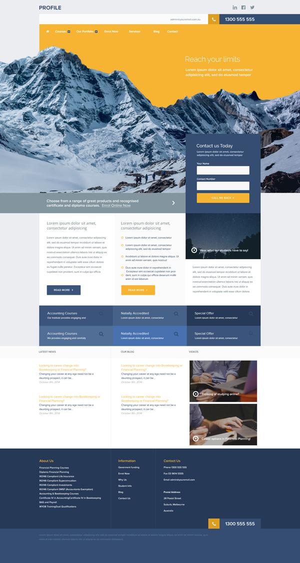 Free Unique Corporate Website PSD Template