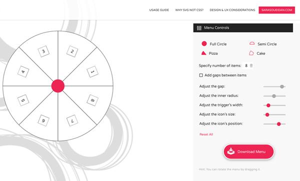 CIRCULUS.SVG: An SVG Circular Menu Generator + animated examples by Sara Soueidan