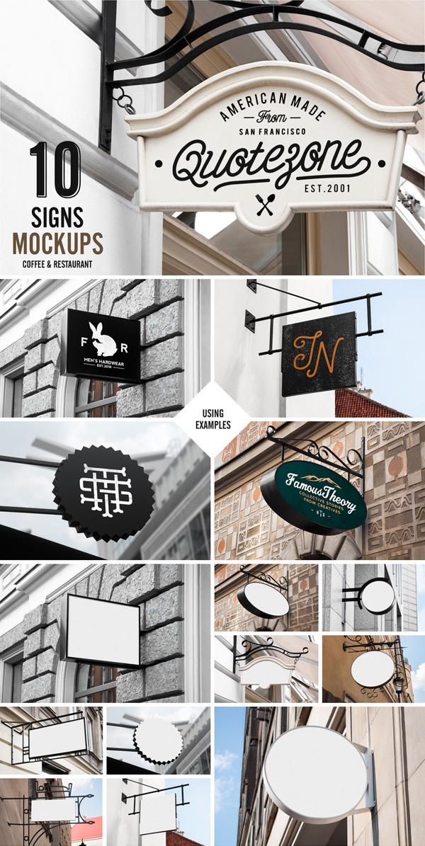Signs Mockup Restaurant & Coffee