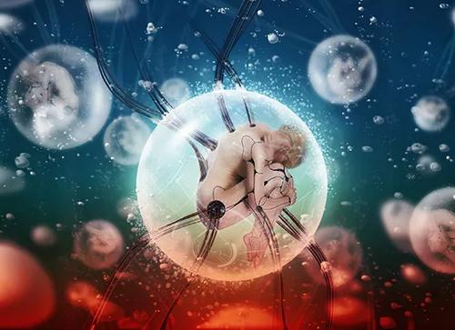Create a Chilling Sci-Fi Scene of Cyborgs in Bubbles
