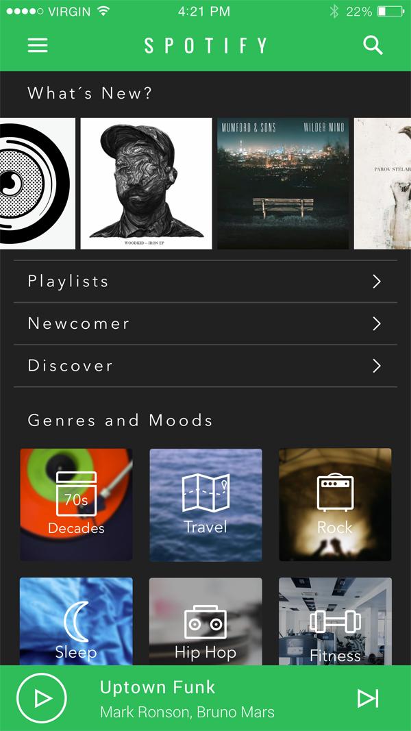 Spotify App UI Redesign by Adrian Spiegelt
