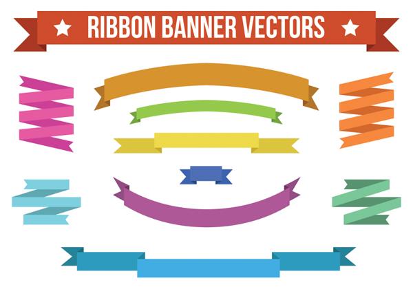 Flat Colorful Ribbon Banner Vectors