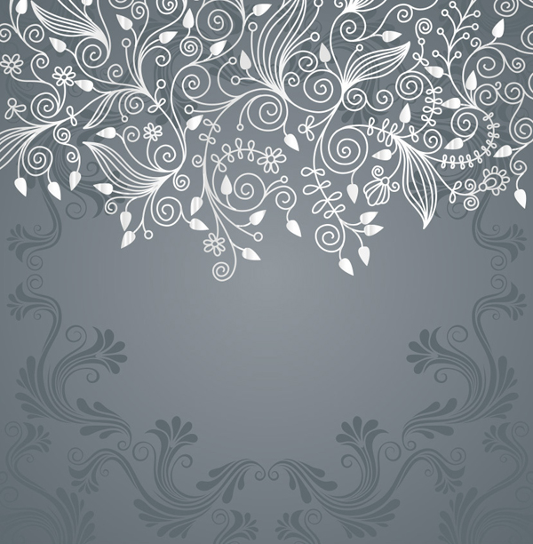 Grey Floral Swirl Vector Background