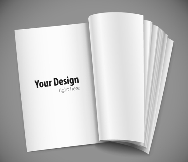 Blank Book Template Vector PSD