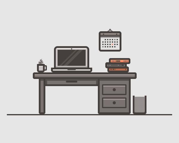 Desk Scenery Illustration Vector Graphics