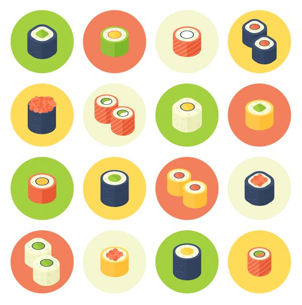 Flat Design Rolled Sushi Icon Set