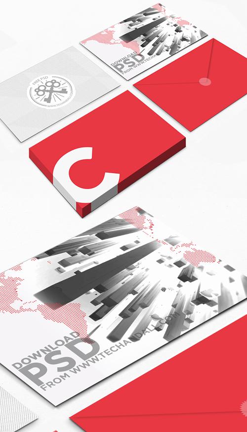 Postcard & Envelop Showcase PSD Mockup
