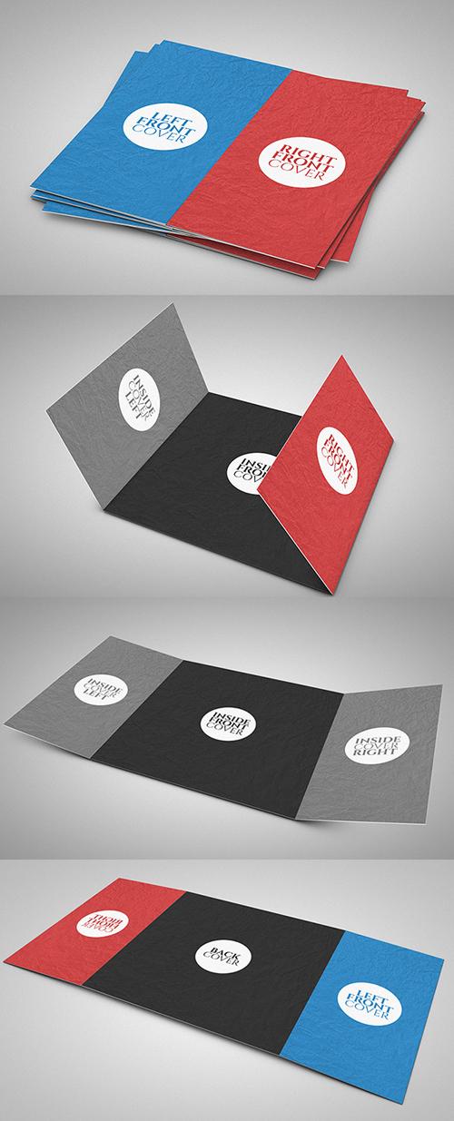 Free 3 Fold Square Brochure Mock-up PSD Template