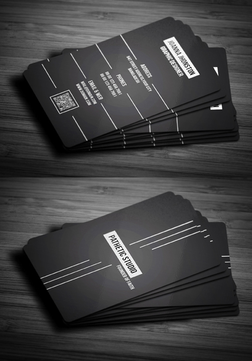 Black & White Business Card PSD Template