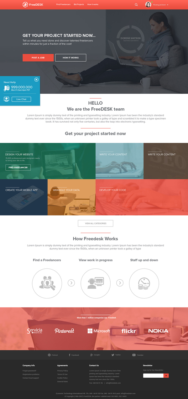 FreeDesk Website Mockup