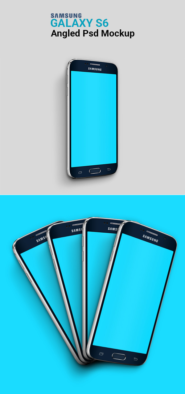 Free Samsung Galaxy S6 Angled Psd Mockup