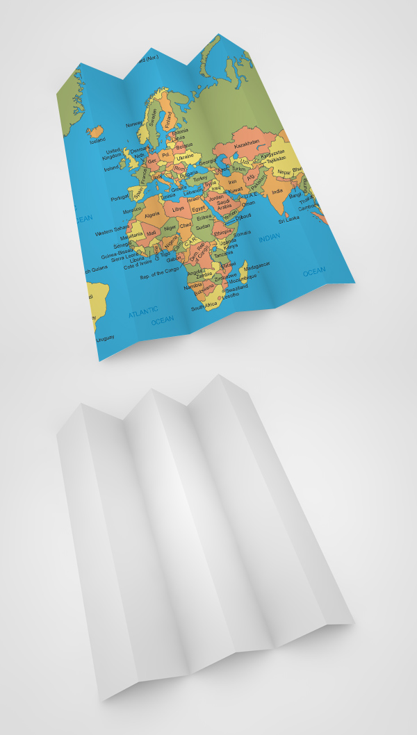 Free White Map PSD Mockup