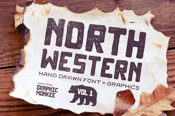 North Western Font + Vectors