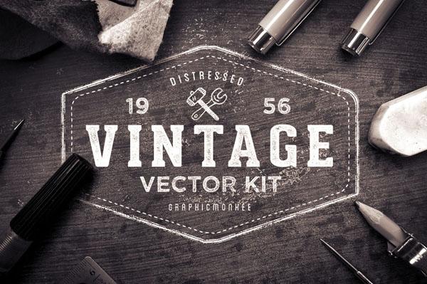 120 vintage badges, logos and labels