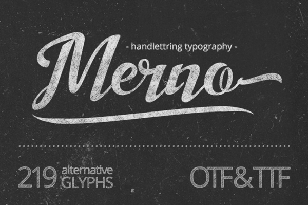 Merno font is the hand lettering font