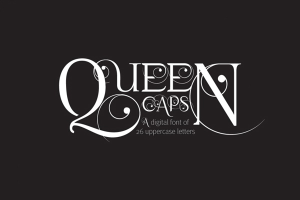 Queen Caps is a hand drawn, elegant and versatile font