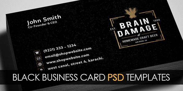 Free Vintage Black Business Card PSD Template