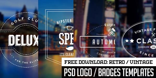 Free 5 Vintage Logo / Badges – PSD Vector Templates