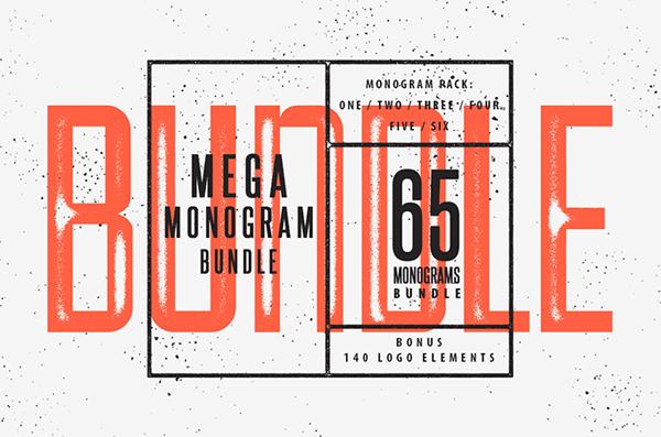 65 Monogram Badges in one big pack