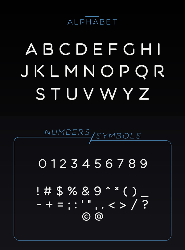 Aquatico rounded font letters and numbers