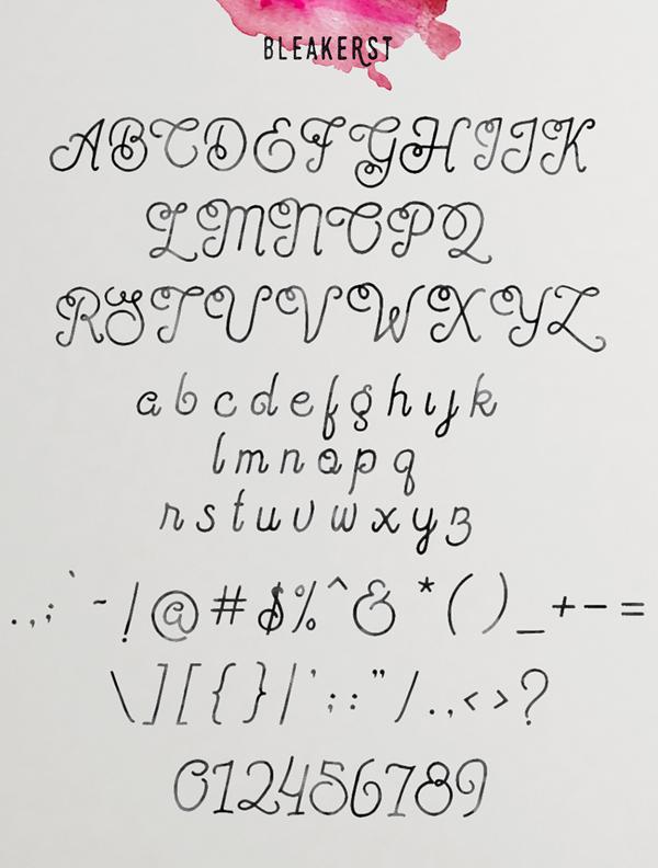 Bleakerst font letters