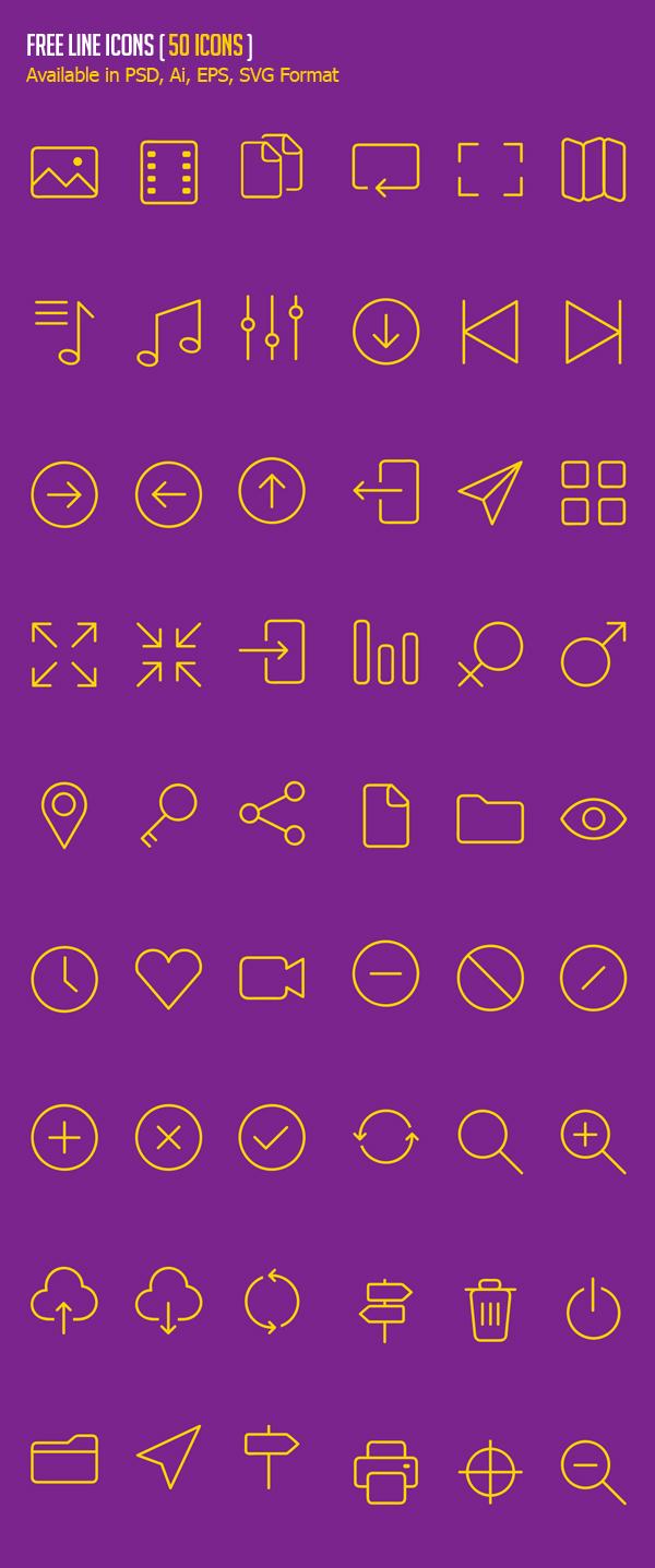 Free Line Icons - (50 Icons)
