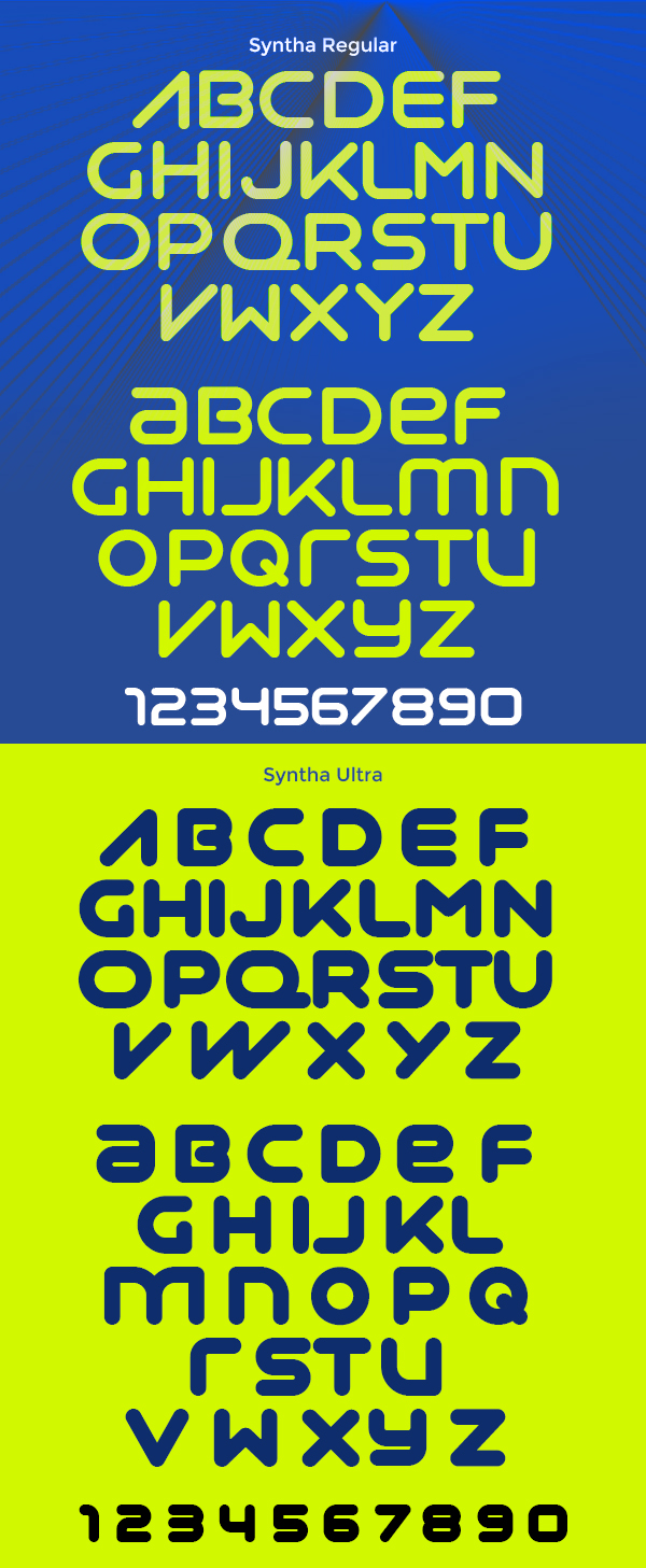 Syntha rounded font letters and numbers
