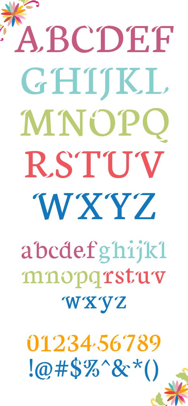 Xisfani font letters