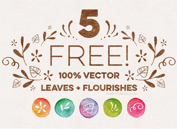 Freebie: 5 Vector Leaves and Flourishes