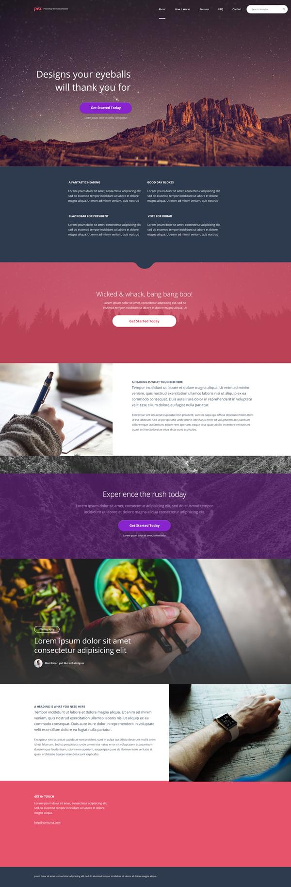 Free Single Page PSD Template