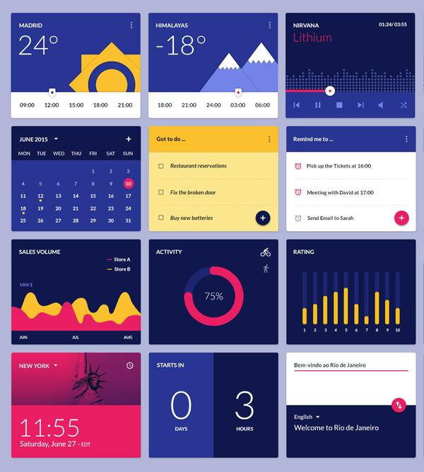 Free Material Design Widgets Ui Kit - PSD