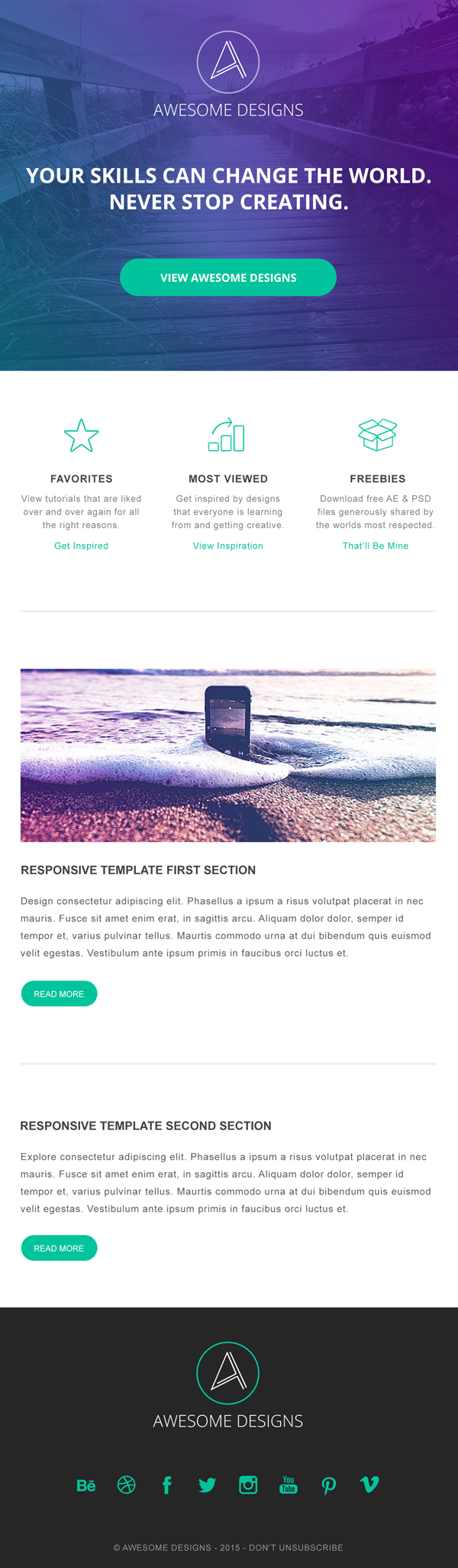 Free Responsive Email Template Design PSD