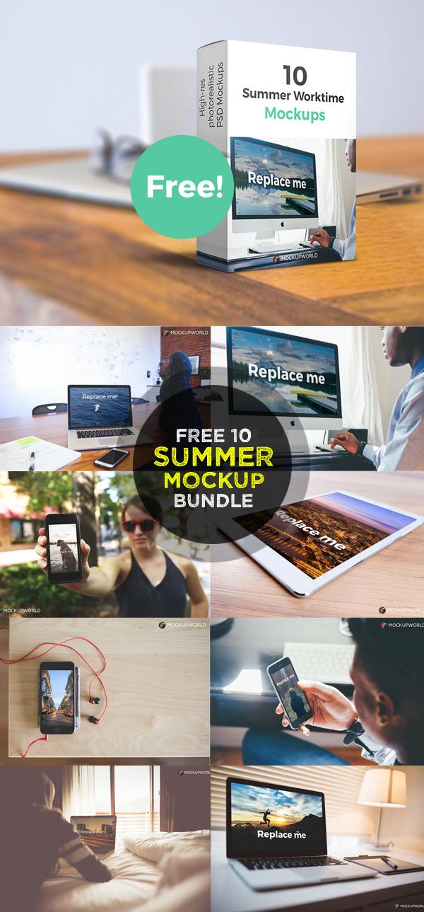 Free Ten Summer Work Mockups Bundle