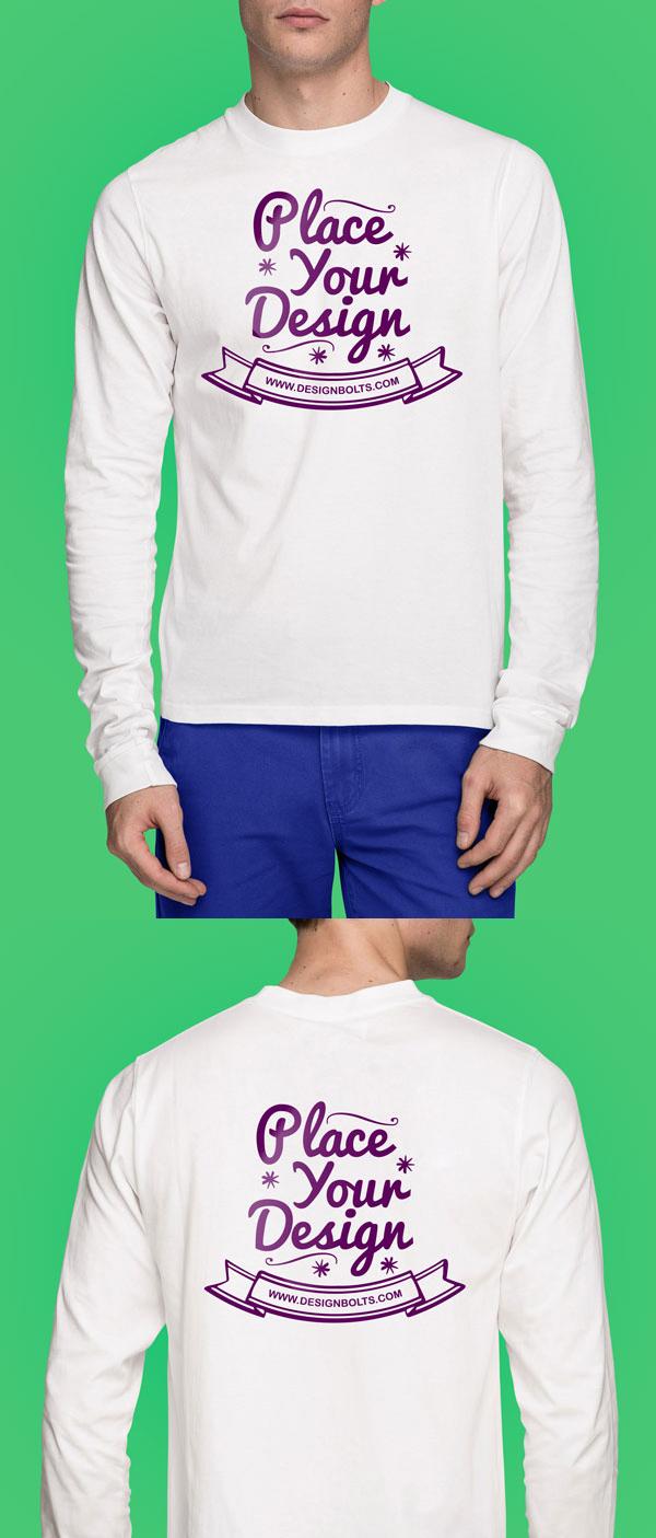Free White Long Sleeves T-shirt PSD Mock-up