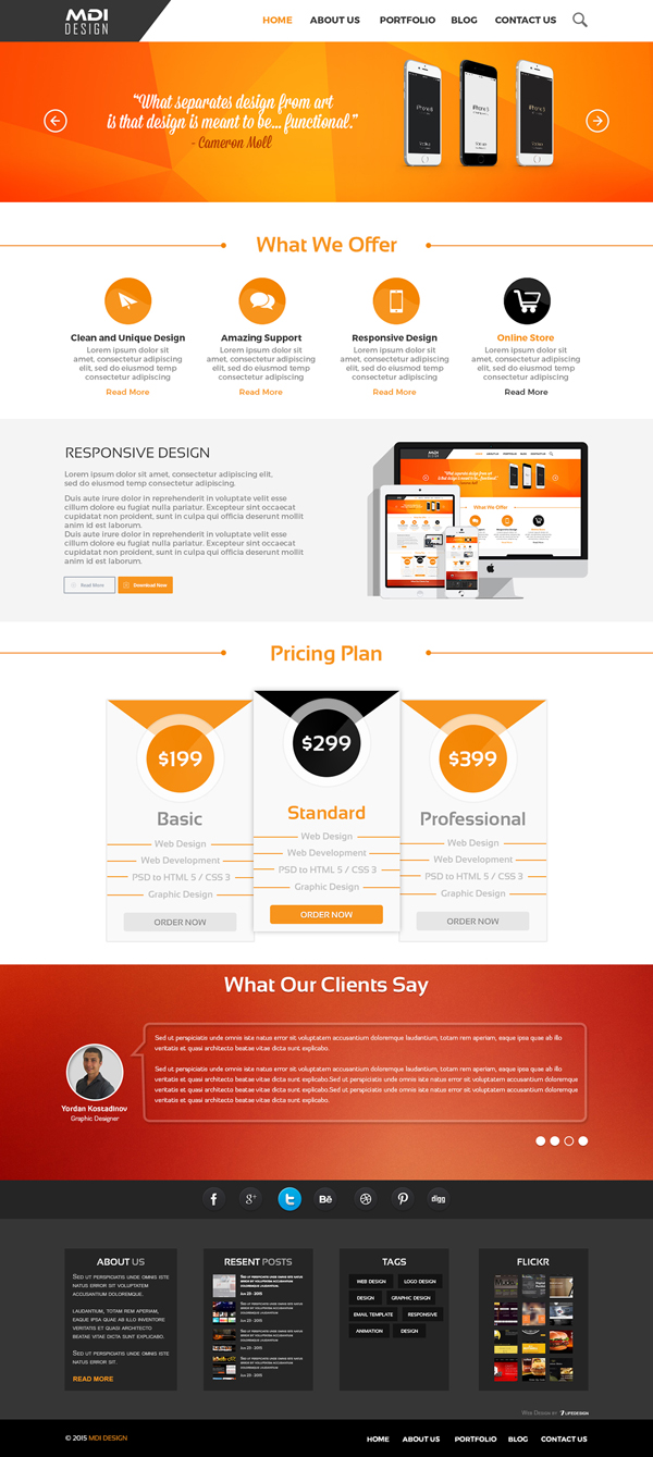 Free Landing Page PSD for Web Agency