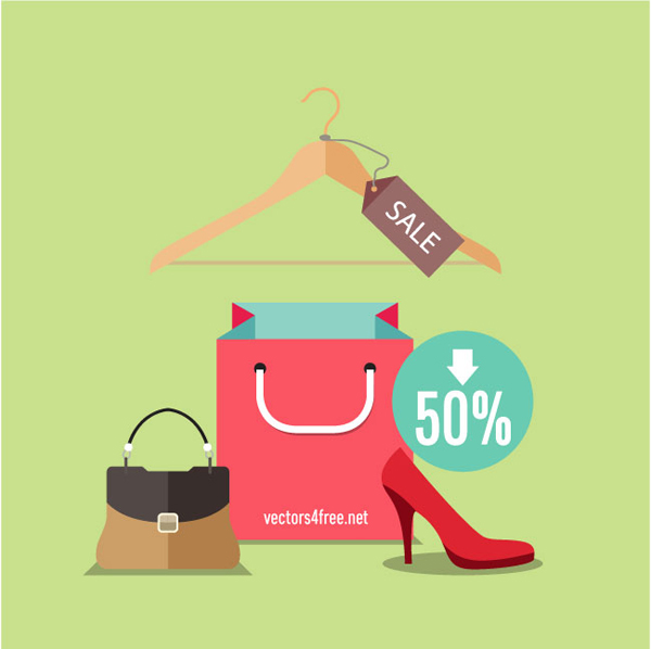 Flat design concept fashion, shopping vector