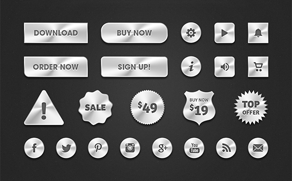 Free PSD Metal Web Buttons