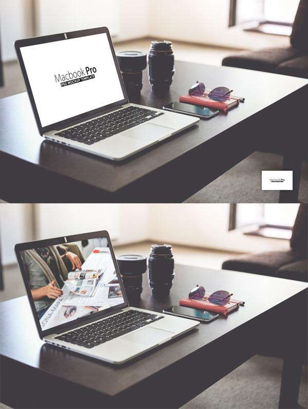 Free Macbook Pro PSD Mockup Template