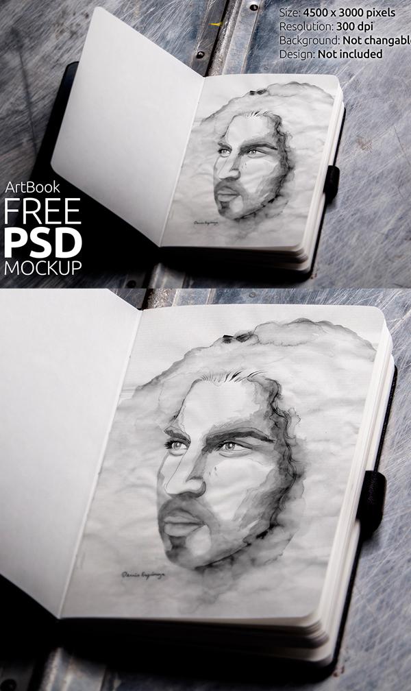 Free Art book Photorealistic Mockup