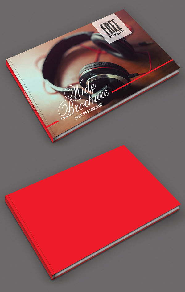 Free PSD Wide Brochure Mockup