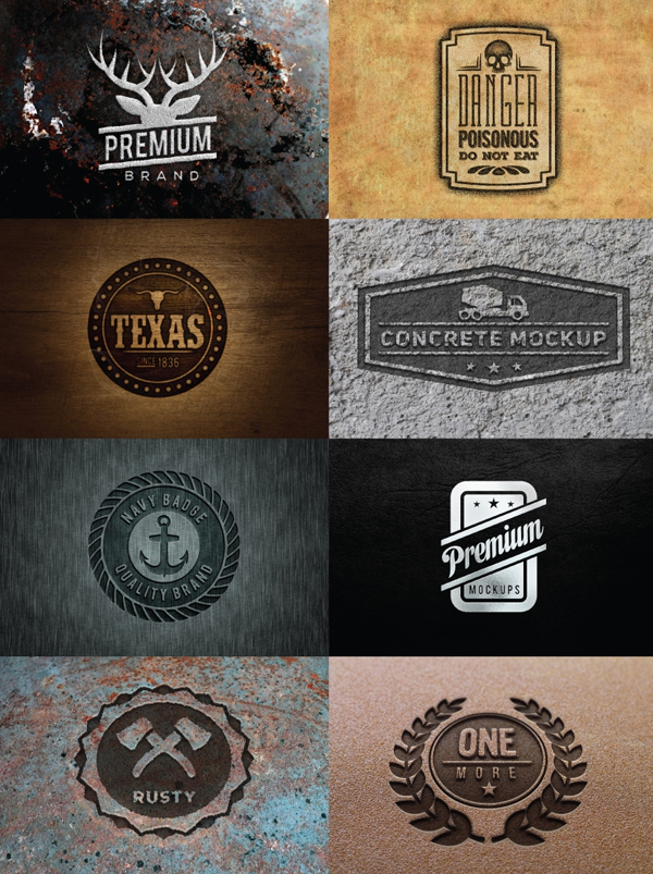 Free PSD Logos, Badges Mockups