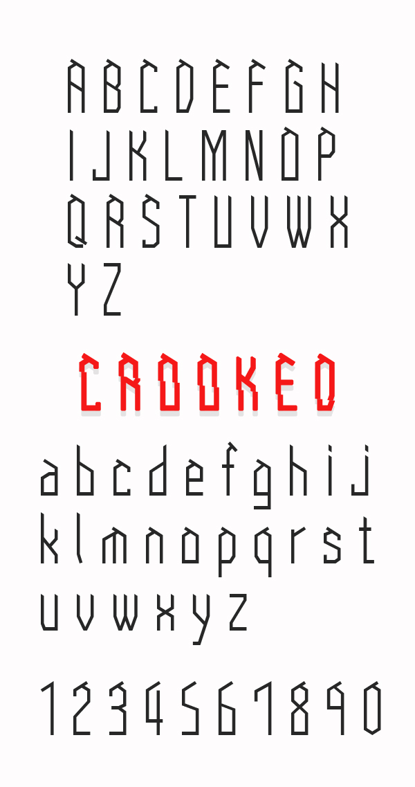 Crooked font letters