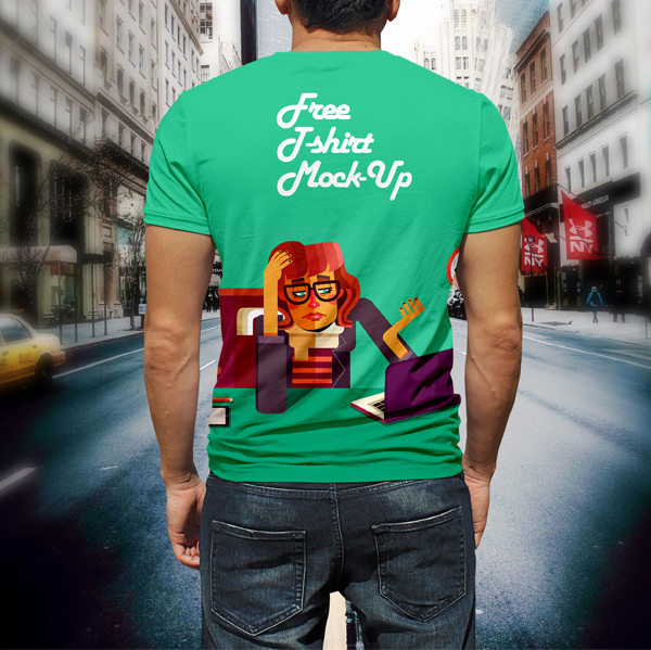 Free Man T-shirt Design Mock-Up