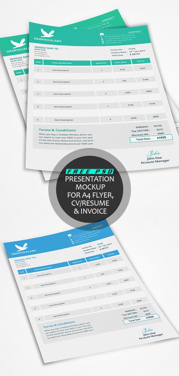 Free PSD Presentation Mockup for A4 Flyer, CV/ Resume & Invoice