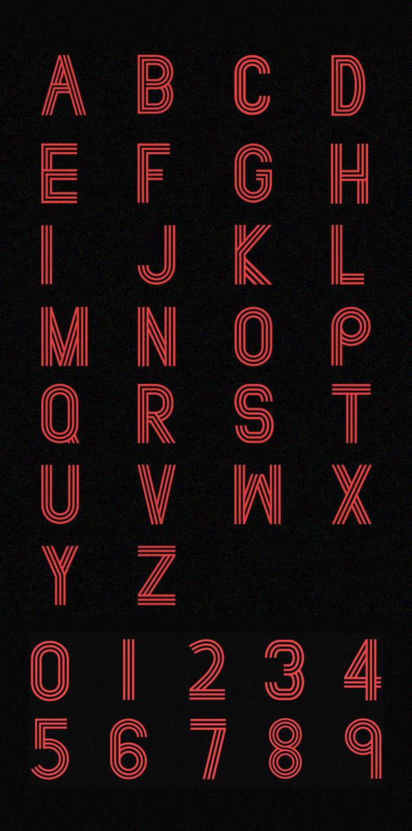 Paralines font letters