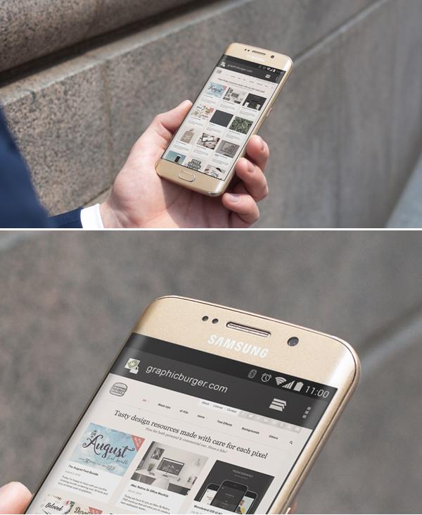 Samsung S6 Edge City Street Android MockUp PSD